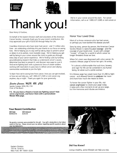 American Cancer Society Donation